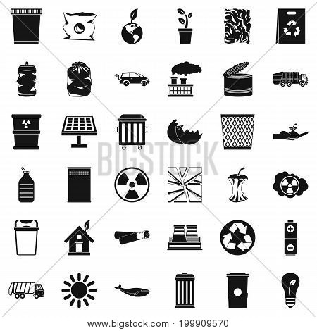 Ecology icons set. Simple style of 36 ecology vector icons for web isolated on white background