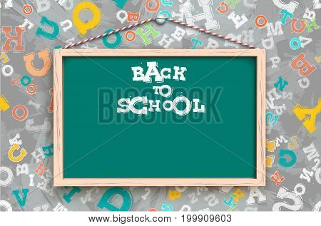 Vector illustration of chalkboard with back to school words on green background with letters.