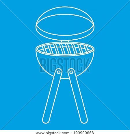 Picnic cooking barbecue device icon blue outline style isolated vector illustration. Thin line sign