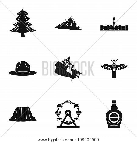 Canada travel icon set. Simple style set of 9 Canada travel vector icons for web isolated on white background