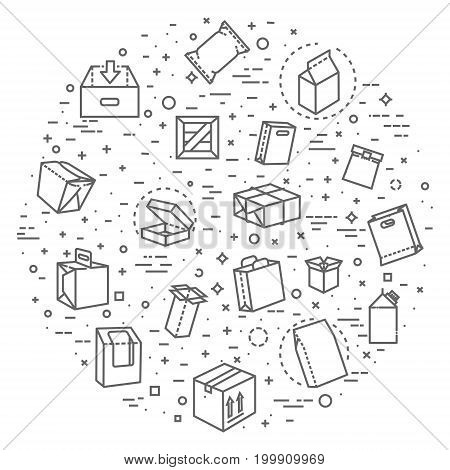 Simple Set of Box Related Vector Line Icons. Contains such Icons as Open Box, Package Return, Wooden Crate