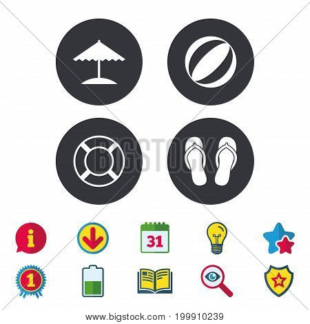 Beach holidays icons. Ball, umbrella and flip-flops sandals signs. Lifebuoy symbol. Calendar, Information and Download signs. Stars, Award and Book icons. Light bulb, Shield and Search. Vector