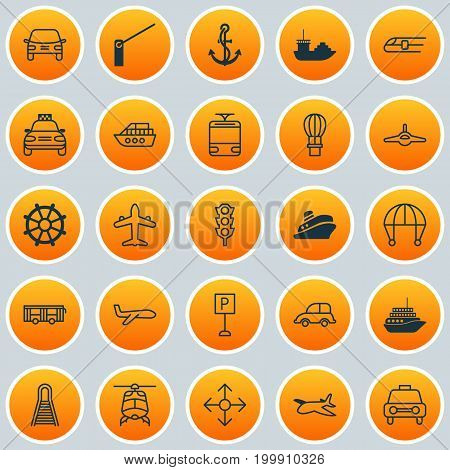 Vehicle Icons Set. Collection Of Jet, Flight Basket, Skydive And Other Elements
