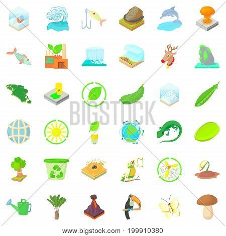Ecology icons set. Cartoon style of 36 ecology vector icons for web isolated on white background