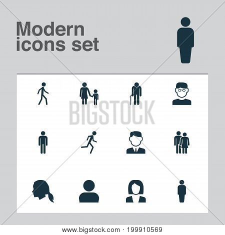 Human Icons Set. Collection Of Gentleman, Running, Businesswoman And Other Elements