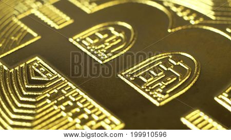 Crypto currency Gold Bitcoin - BTC - Bit Coin. Extreme Macro shots crypto currency Bitcoin coins