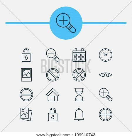Icons Set. Collection Of Refuse, Obstacle, Zoom Out And Other Elements