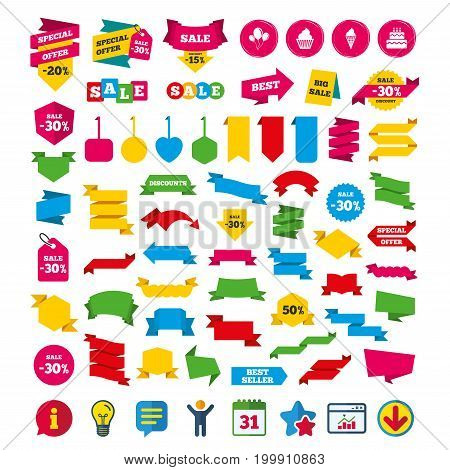 Birthday party icons. Cake with ice cream signs. Air balloons with rope symbol. Shopping tags, banners and coupons signs. Calendar, Information and Download icons. Stars, Statistics and Chat. Vector