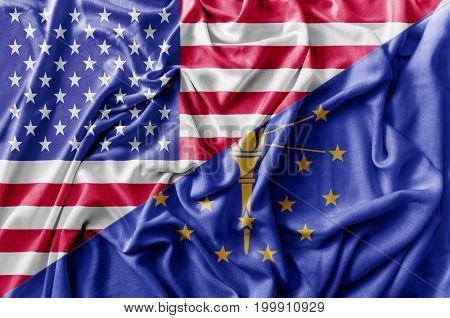 Ruffled waving United States of America and Indiana flag