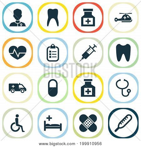 Antibiotic Icons Set. Collection Of Drug, Healer, Ache And Other Elements