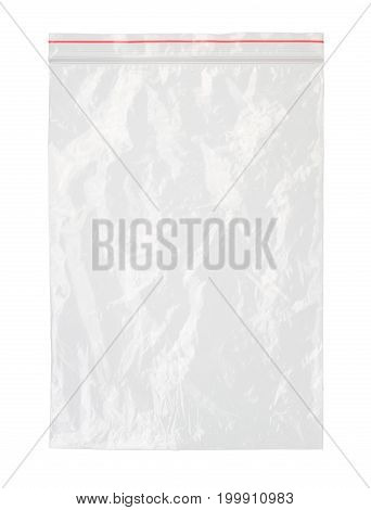 Plastic zipper bag (with clipping path) isolated on white background