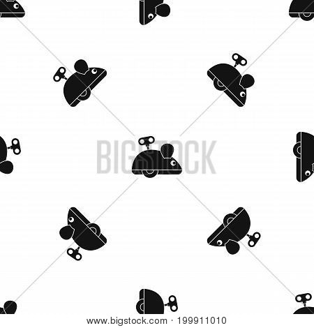 Clockwork mouse pattern repeat seamless in black color for any design. Vector geometric illustration
