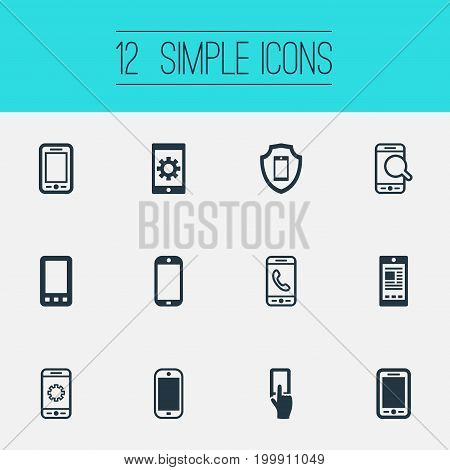 Elements Search, Communicating, Using A Telephone And Other Synonyms Touch, Linkage And Settings.  Vector Illustration Set Of Simple Smartphone Icons.