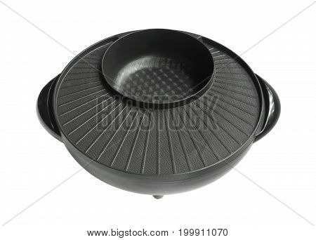 Electric bbq pot isolated on white background