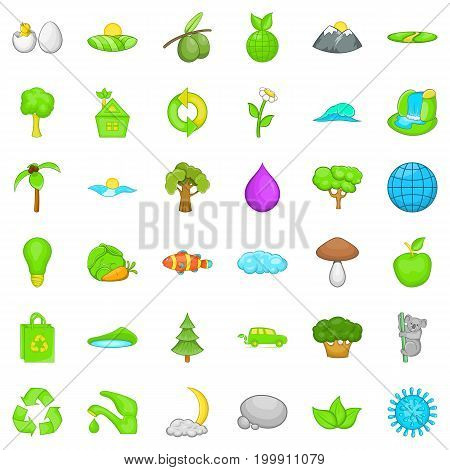 Green planet icons set. Cartoon style of 36 green planet vector icons for web isolated on white background