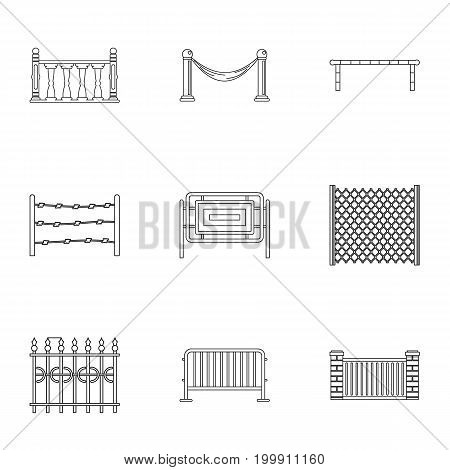 Urban fence icons set. Outline set of 9 urban fence vector icons for web isolated on white background