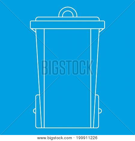 Trash bin icon blue outline style isolated vector illustration. Thin line sign