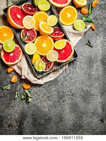 Fresh Citrus Fruit In The Box.