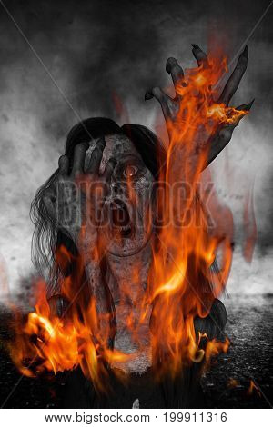 3d illustration of scary ghost woman screaming with fire burning on her body,Horror background,mixed media