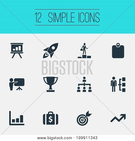 Elements Skills, Target, Winner And Other Synonyms Folder, File And Launch.  Vector Illustration Set Of Simple Champion Icons.