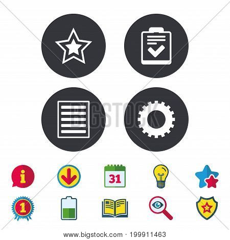 Star favorite and menu list icons. Checklist and cogwheel gear sign symbols. Calendar, Information and Download signs. Stars, Award and Book icons. Light bulb, Shield and Search. Vector