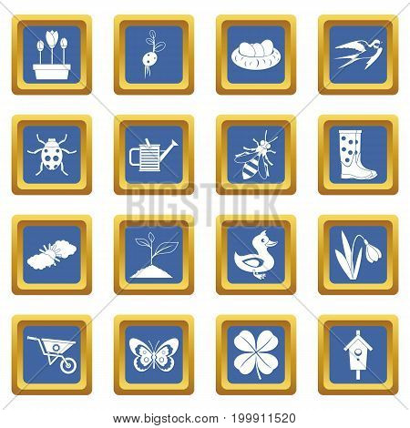 Spring icons set in blue color isolated vector illustration for web and any design