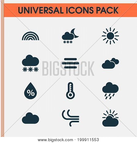 Air Icons Set. Collection Of Cloudy, Sun, Weather And Other Elements