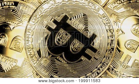 Crypto currency Gold Bitcoin - BTC - Bit Coin. Macro shots crypto currency Bitcoin coins. Holomatrix style