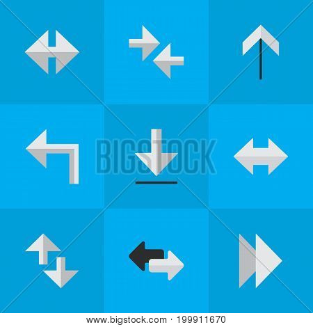Elements Up, Orientation, Indicator And Other Synonyms Turn, Arrow And Internet.  Vector Illustration Set Of Simple Arrows Icons.
