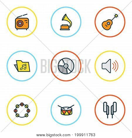 Multimedia Colorful Outline Icons Set. Collection Of Tambourine, Circle, Gramophone And Other Elements