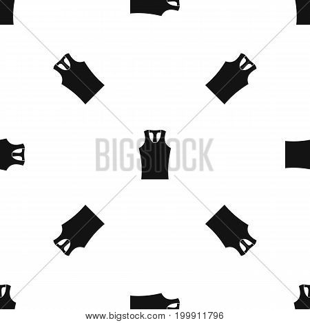 Sleeveless shirt pattern repeat seamless in black color for any design. Vector geometric illustration