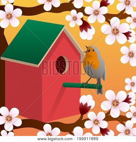 Bird near birdhouse. Blossoming spring tree. Spring. Vector illustration