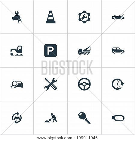 Elements Road Sign, Hoisting Machine, Wrench And Other Synonyms Bulldozer, Wrench And Rudder.  Vector Illustration Set Of Simple Auto Icons.