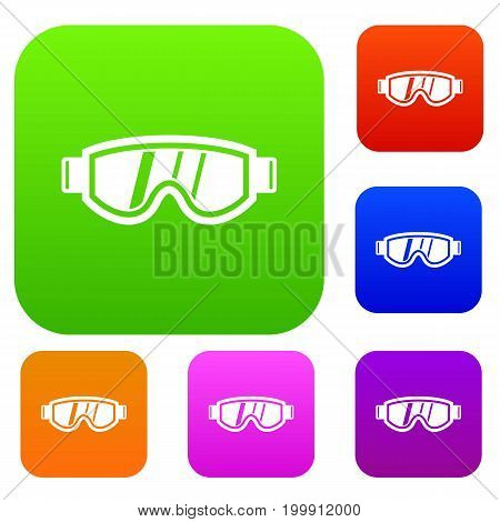 Skiing mask set icon in different colors isolated vector illustration. Premium collection
