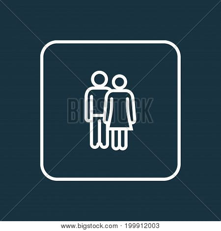 Premium Quality Isolated Couple Element In Trendy Style.  Lover Outline Symbol.