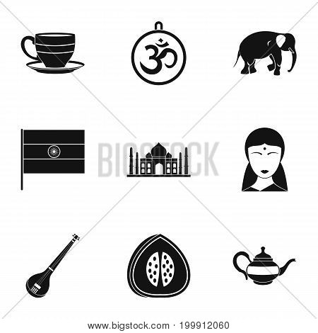 Tourism in India icon set. Simple style set of 9 tourism in India vector icons for web isolated on white background