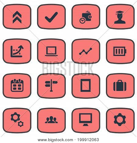 Elements Arrow Up, Briefcase, Computer And Other Synonyms Growth, Battery And Frame.  Vector Illustration Set Of Simple Startup Icons.
