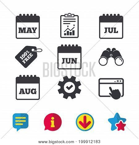Calendar icons. May, June, July and August month symbols. Date or event reminder sign. Browser window, Report and Service signs. Binoculars, Information and Download icons. Stars and Chat. Vector