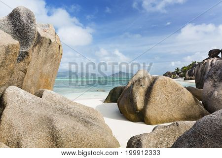 Granite Rocks On The Beach, La Digue, Seychelles