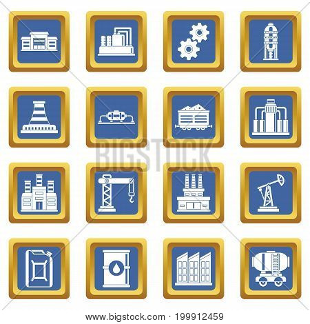 Industry icons set in blue color isolated vector illustration for web and any design