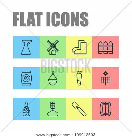 Icons Set. Collection Of Sun Power, Shovel, Sprinkler And Other Elements