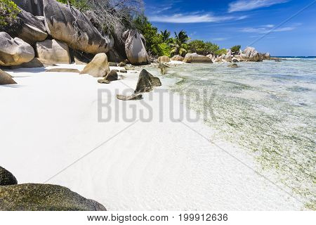 Small Beach With Shallow Water, La Digue, Seychelles