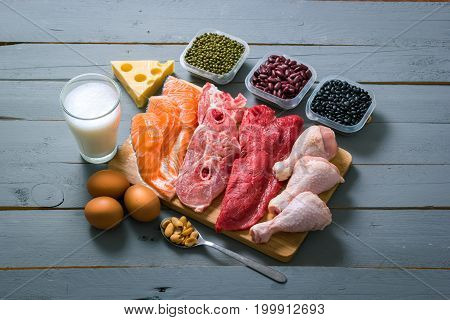 Different types of proteins on wood table