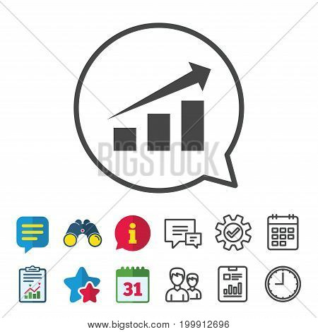 Chart with arrow sign icon. Success diagram symbol. Statistics. Information, Report and Calendar signs. Group, Service and Chat line icons. Vector