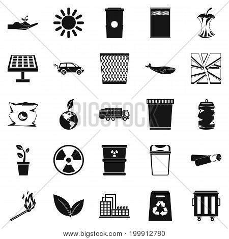 Nature protection icons set. Simple set of 25 nature protection vector icons for web isolated on white background