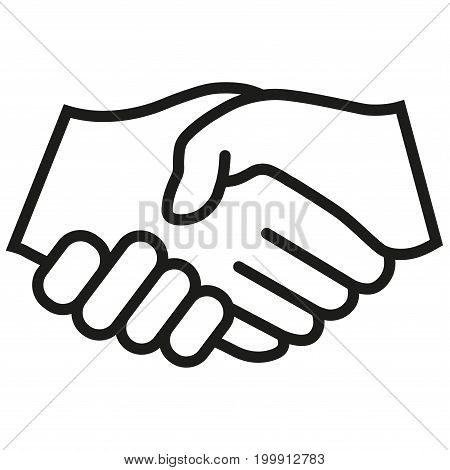 Business handshake, contract agreement icon flat. Black vector symbol on white background