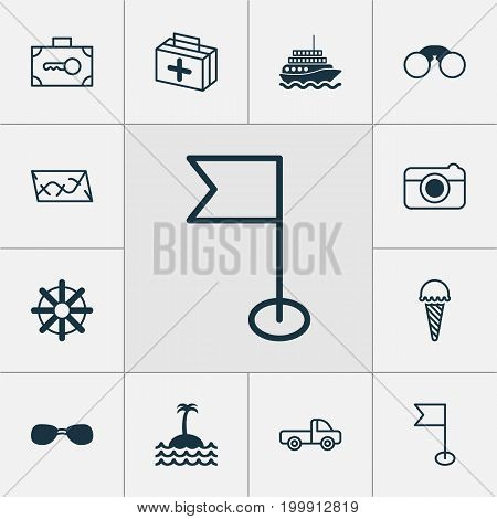 Tourism Icons Set. Collection Of Ensign, Reef, Steering Wheel And Other Elements