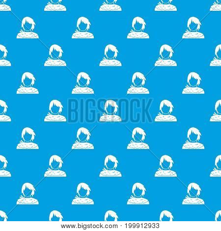 Male shorn pattern repeat seamless in blue color for any design. Vector geometric illustration