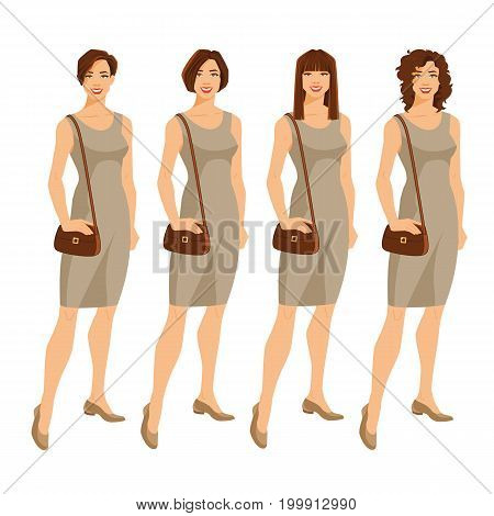 Vector illustration of young woman with different hairstyle. Woman in formal dress isolated on white background