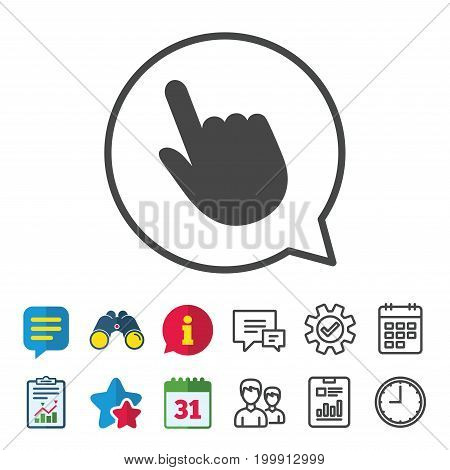 Click pointer icon. Hand with finger cursor sign symbol.  Information, Report and Calendar signs. Group, Service and Chat line icons. Vector